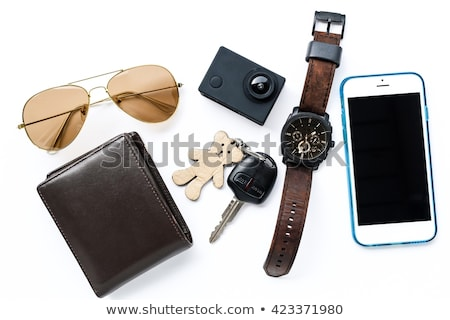 Közelkép kilátás szemüveg pénztárca fa asztal Stock fotó © wavebreak_media