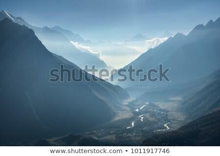 winter · schemering · bergen · adelaar · nest · rock - stockfoto © denbelitsky
