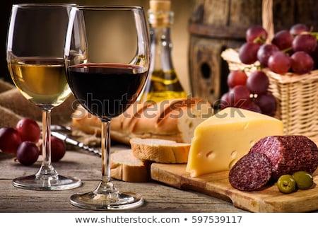 Bril wijn salami kaas achtergrond drinken Stockfoto © M-studio