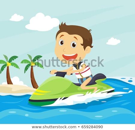 少年 ライディング 水 スクーター ジェットスキー 夏 ストックフォト © robuart
