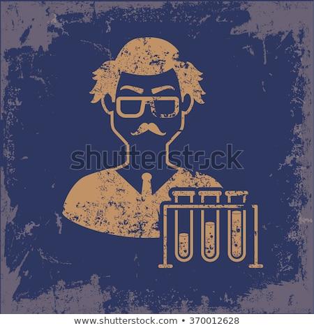 Karikatür deli bilim adamı imzalamak örnek Stok fotoğraf © cthoman