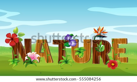 Font design for word nature with many flowers Stock photo © colematt