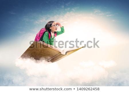 Cute meisje blauwe hemel illustratie hemel kind Stockfoto © colematt