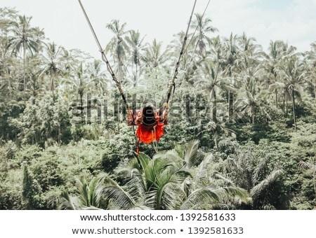 Giovani turistica donna swing giungla foresta pluviale Foto d'archivio © galitskaya