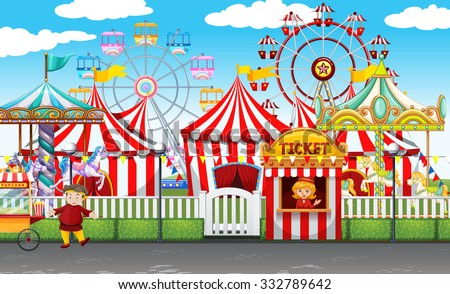 Amusement park with many rides Stock photo © colematt