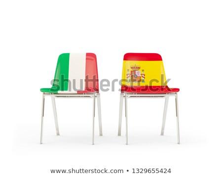Kettő székek zászlók Olaszország Spanyolország izolált Stock fotó © MikhailMishchenko