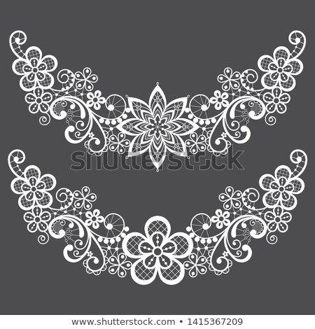 Vitnahe lace half wreath single vector pattern set - floral lace design collection, retro openwork b Stock photo © RedKoala