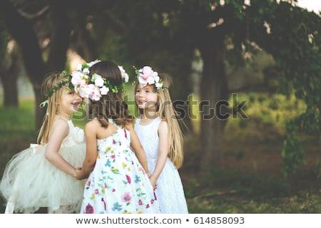 Stockfoto: Meisje · tuin · thee · steeg · bloemen · baby