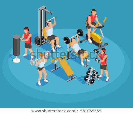Barbell gewichtheffen gymnasium sport uitrusting vector Stockfoto © pikepicture