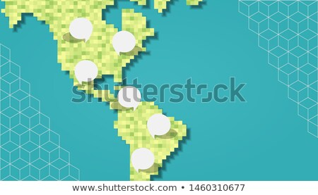 Green america pixel map with empty bubbles Stock photo © cienpies