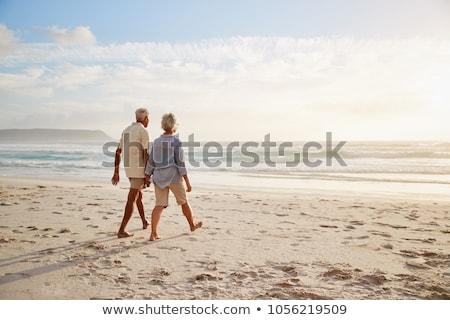 Hátsó nézet kaukázusi pár sétál tengerpart kéz Stock fotó © wavebreak_media