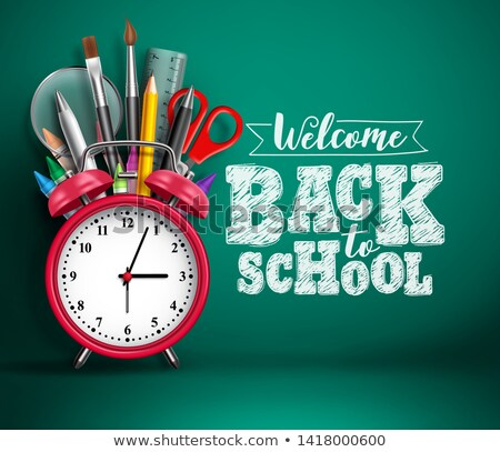 Back to school design with red alarm clock and typography on yellow background. Vector education con Stock photo © articular