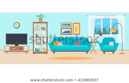 Woonkamer interieur eettafel vector witte Stockfoto © robuart