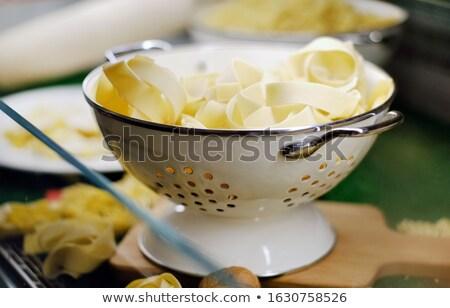 Közelkép tál friss tagliatelle olasz hagyományos Stock fotó © amok