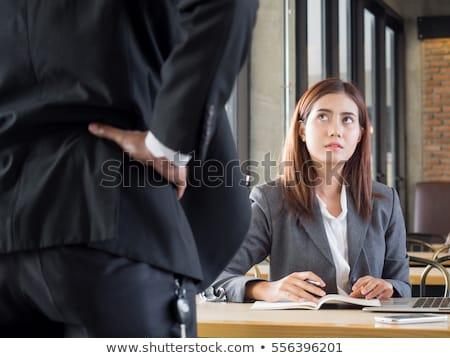 Főnök kiált alkalmazott ül asztal női Stock fotó © AndreyPopov