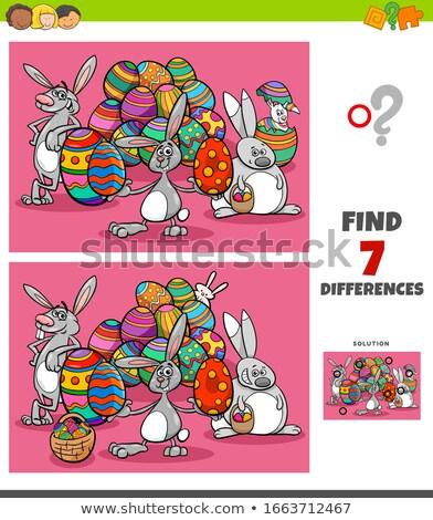 Farklılıklar oyun karikatür Paskalya örnek Stok fotoğraf © izakowski