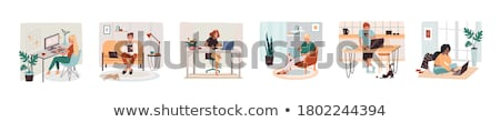 Freelancer Working on Tasks at PC Laptop Vector Stock photo © robuart