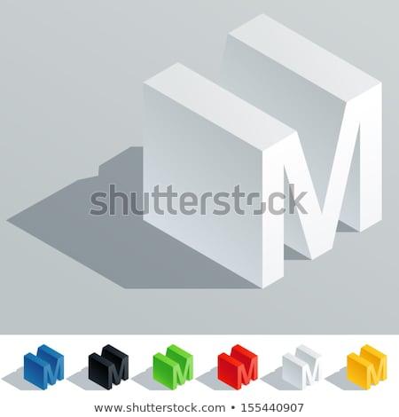 Fehér kocka pixel betűtípus m betű 3D Stock fotó © djmilic