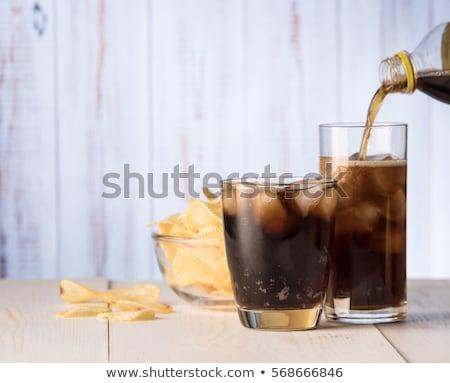 Vidro cola batata fries batatas fritas beber Foto stock © karandaev