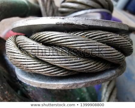 Foto stock: Alambre · cuerda · materiales · de · construcción · silueta · edificio · trabajo