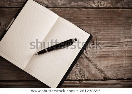 старые · ноутбук · пер · деревянный · стол · древесины · дизайна - Сток-фото © inxti