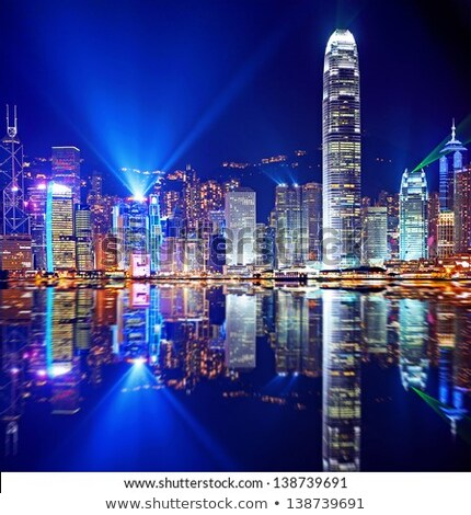 Foto stock: Noite · panorâmico · ver · Hong · Kong · negócio · céu
