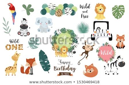 çocukça bebek duş kart karikatür aslan Stok fotoğraf © balasoiu