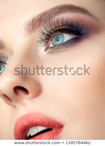 クローズアップ · 肖像 · 女性 · 美しい · 青い目 · を構成する - ストックフォト © juniart