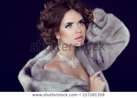 rode · lippen · mooie · vrouw · luxe · pels · zwart · wit · foto - stockfoto © victoria_andreas
