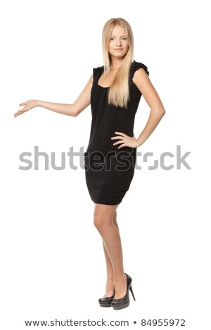 beautiful blond business woman presenting copy space stock photo © dash