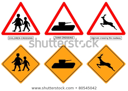 Traffic sign caution tanks Stock photo © Ustofre9