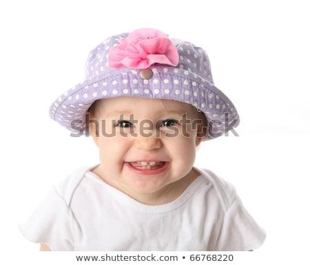 Rózsaszín baba kalap pöttyös fehér gyermek Stock fotó © RuslanOmega