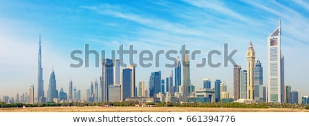 Dubai ufuk çizgisi iş arka plan otel siluet Stok fotoğraf © compuinfoto