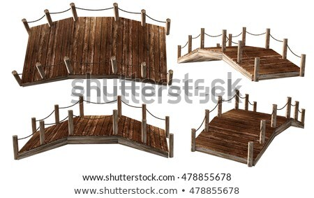 wooden bridge to the old house stock photo © stepstock