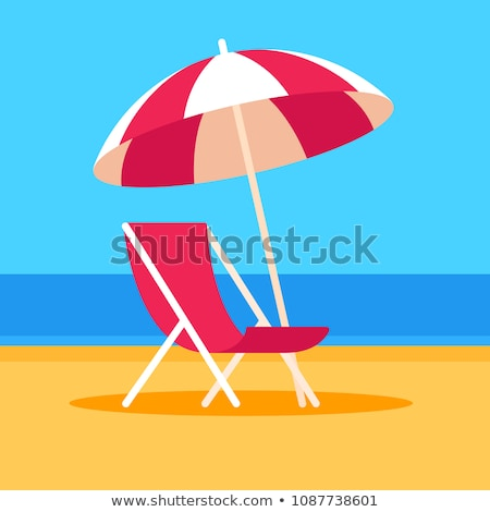 lounge chair and parasol on the beach Stock photo © njaj