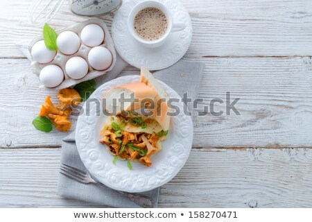 Have Breakfast Omelette With Chanterelles Stok fotoğraf © Dar1930