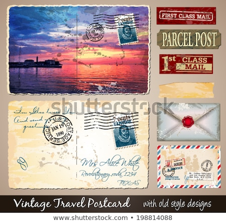 Travel Vintage Postcard Design with antique look  Stock photo © DavidArts