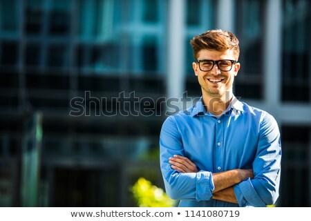 Fiatal fiatalember elegáns öltöny siker hozzáállás Stock fotó © silent47