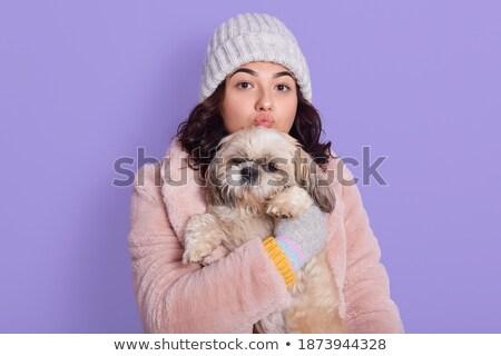 çok güzel esmer kız kürk kadın Stok fotoğraf © konradbak
