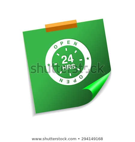 24 Hours Open Green Sticky Notes Vector Icon Design Stock photo © rizwanali3d