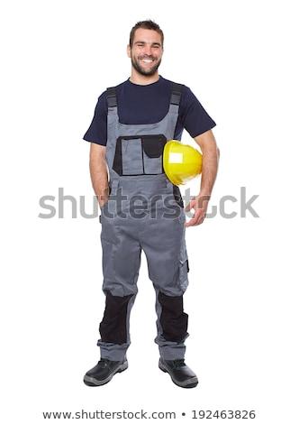 vrolijk · werknemer · architect · bouwvakker · gebaar - stockfoto © fuzzbones0