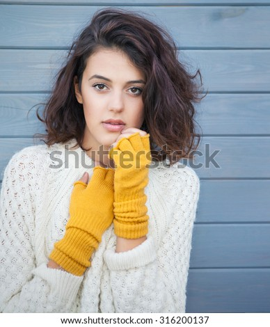 beautiful woman in wool dress Stock photo © dolgachov