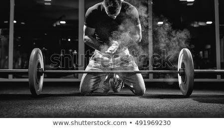 Vonzó erős fitnessz fickó emel súly Stock fotó © ra2studio