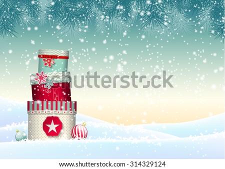 decorado · árvore · vetor · cartão · postal · alegre - foto stock © beholdereye