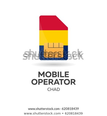 Chad mobile operator. SIM card with flag. Vector illustration. Stock photo © Leo_Edition