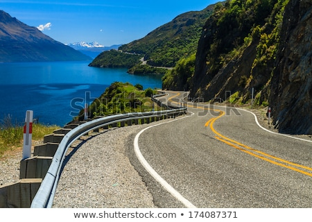 Sightseeing road by lake Stock photo © raywoo