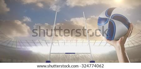 Közelkép rögbi játékos kar kiemelt tart Stock fotó © wavebreak_media