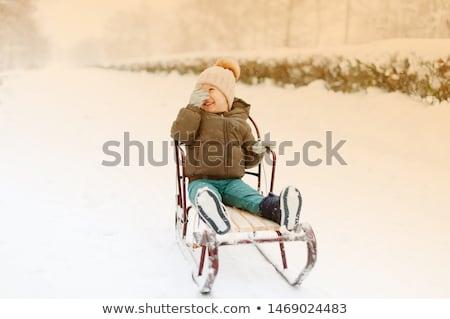 Chłopca sanki śniegu zimą zabawy hat Zdjęcia stock © IS2