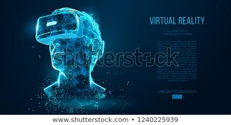 Virtual realidade 3D cara da mulher exibir abstrato Foto stock © derocz