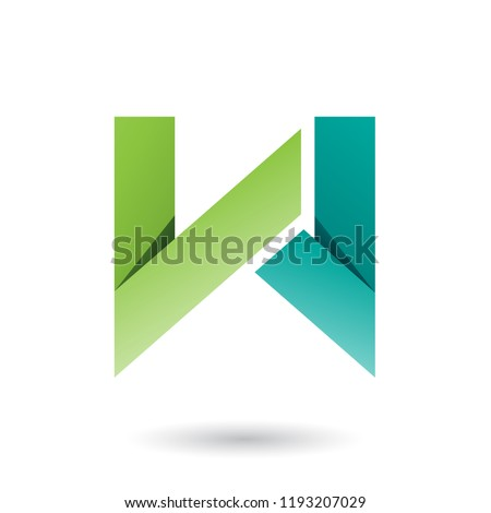 light and dark green folded paper letter w vector illustration stock photo © cidepix